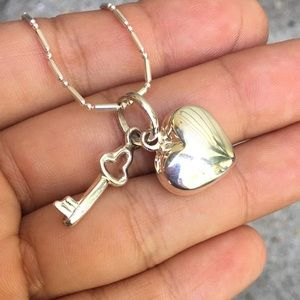 Peruvian Silver Heart Charm Necklace